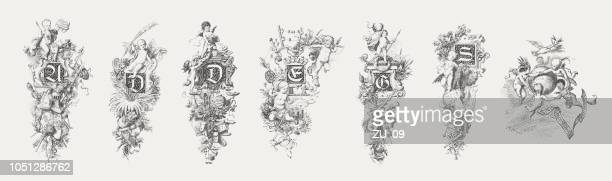 initials: a, d, e, g, s, and v, published 1885 - cherub stock illustrations