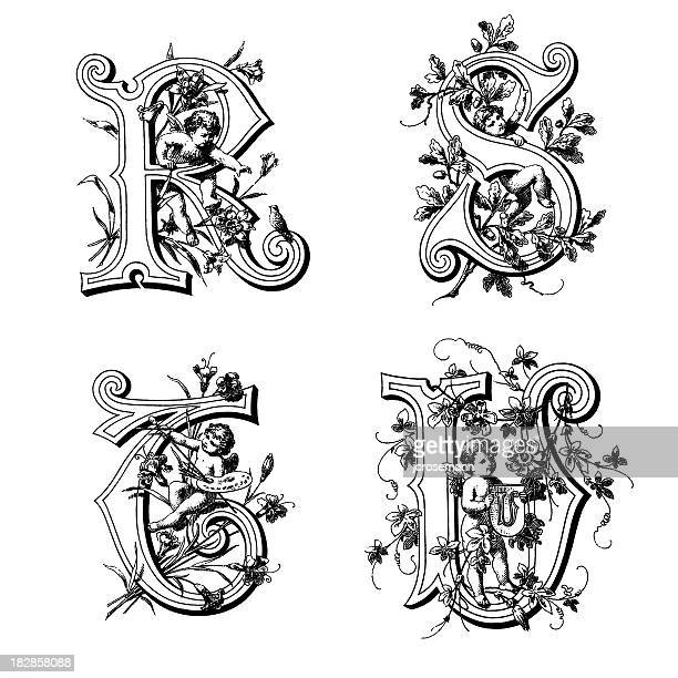 initials with angels - letter s stock illustrations, clip art, cartoons, & icons