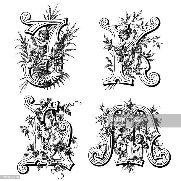 initials with angels - cherub stock illustrations