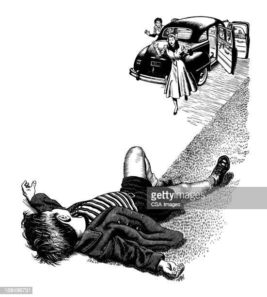 injured boy and car - runaway vehicle stock illustrations, clip art, cartoons, & icons