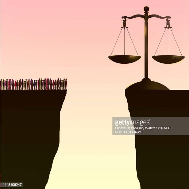 injustice, conceptual illustration - justice concept stock illustrations