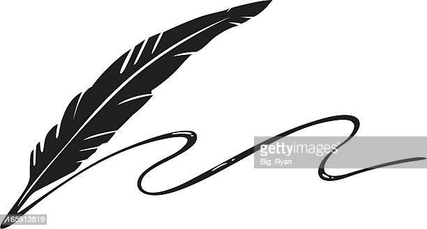ink feather - quill pen stock illustrations