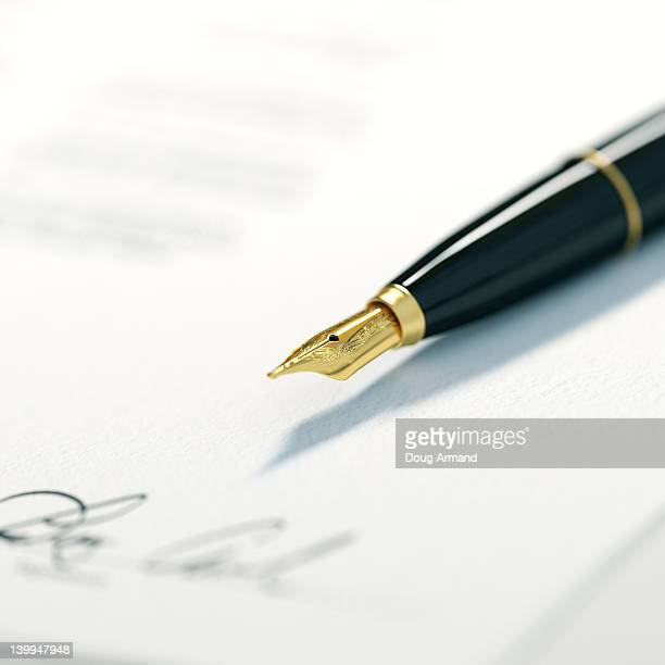 ink writing pen - agreement stock illustrations