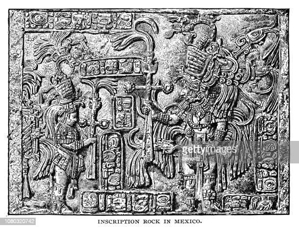 inscription rock in mexico - bas relief stock illustrations