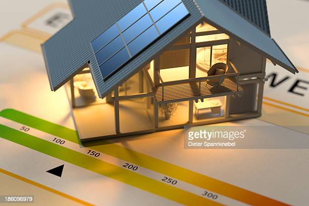 inside delighted model of a house on energy pass - energy efficient stock illustrations, clip art, cartoons, & icons