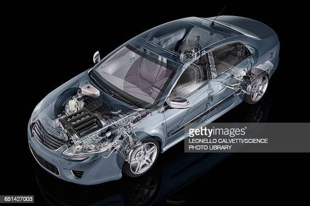 Inside of a car, illustration