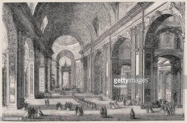 ilustrações de stock, clip art, desenhos animados e ícones de inside of st. peter's basilica in rome - st. peter's basilica the vatican
