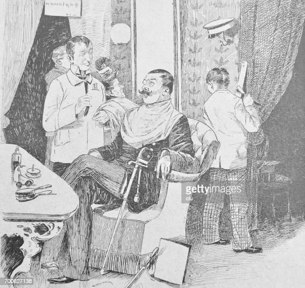 Dentro de la tienda del peluquero: hombre obtener recomendación de peluquería sentado en silla cómoda