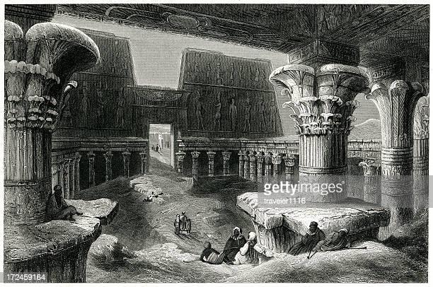 inside the temple of karnak, egypt - thebes egypt stock illustrations