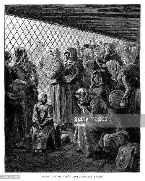 Inside the women's cage on convict barge