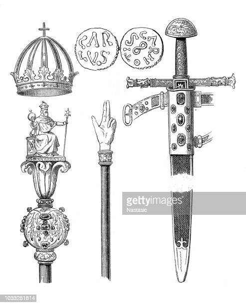 insignia of charlemagne - scepter stock illustrations