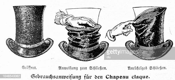 instruction manual for the chapeau claque, slapped hat - slapping stock illustrations, clip art, cartoons, & icons