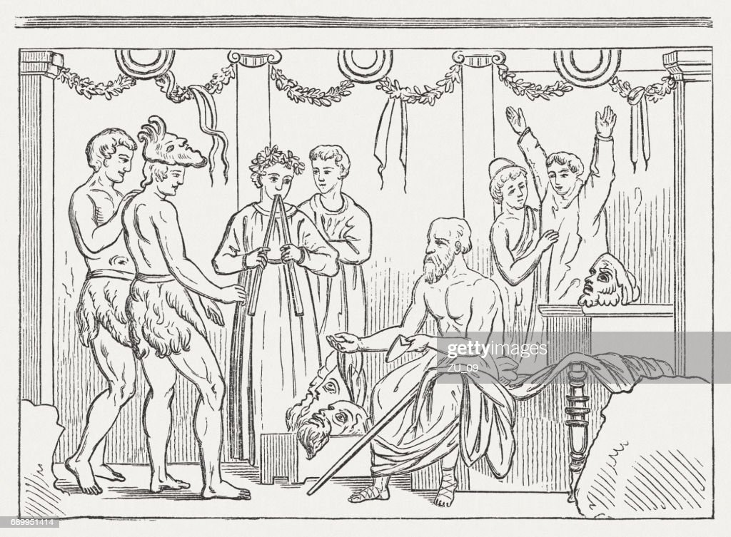 Instruction Of The Actors In An Ancient Theater Published 1880 Stock