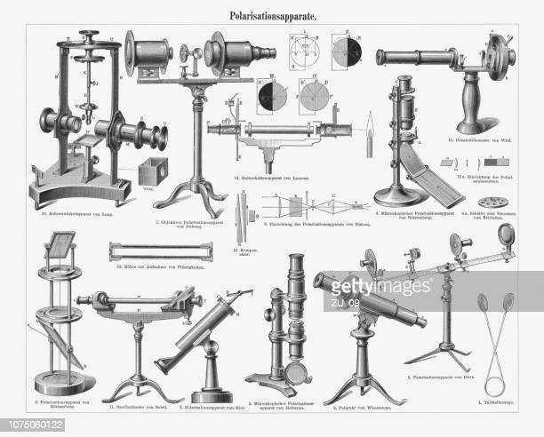instruments for the polarization of light waves, woodcuts, published 1897 - lens optical instrument stock illustrations