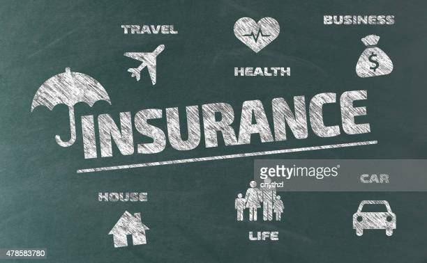 insurance concept with icons on blackboard - vandalism stock illustrations