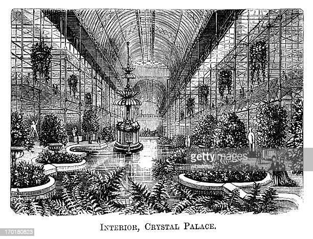 interior, crystal palace, sydenham (1871 engraving) - crystal palace london stock illustrations