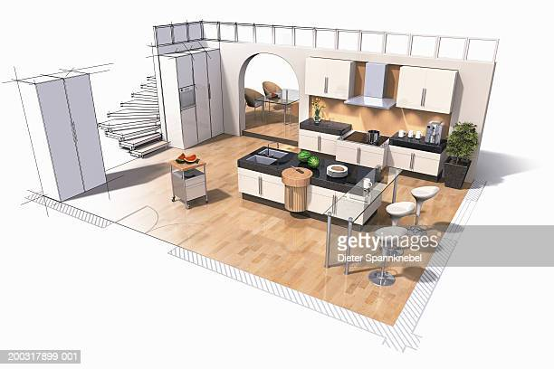 interior design of kitchen (digital) - model to scale stock illustrations, clip art, cartoons, & icons