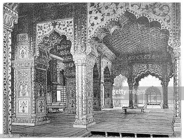 interior of a hall in the palace of the mughal kings in delhi - sandstone stock illustrations, clip art, cartoons, & icons