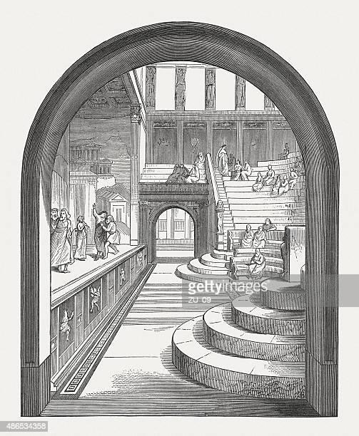 Interior de um teatro romano (Pompeia), publicado em 1878