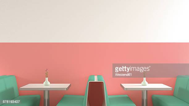 interior of american diner, 3d rendering - vintage restaurant stock illustrations