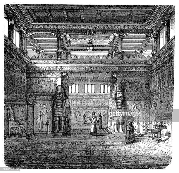 interior of an assyrian royal palace - 8th century bc stock illustrations, clip art, cartoons, & icons