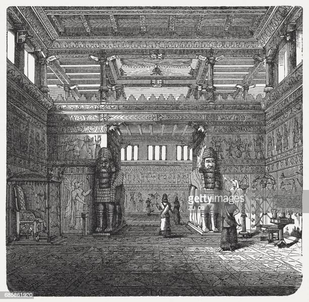 interior of an assyrian royal palace, wood engraving, published 1880 - 8th century bc stock illustrations, clip art, cartoons, & icons