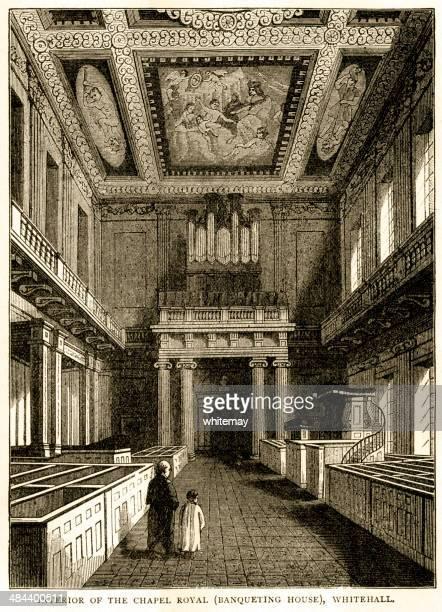 interior of chapel royal (banqueting house), whitehall - banqueting house whitehall stock illustrations
