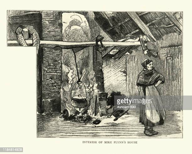 アイルランドの家のインテリア, ケリー郡, アイルランド, 19世紀 - 大釜点のイラスト素材/クリップアート素材/マンガ素材/アイコン素材