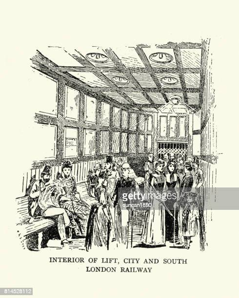 interior of lift, city and south london railway, 1899 - 1890 1899 stock illustrations