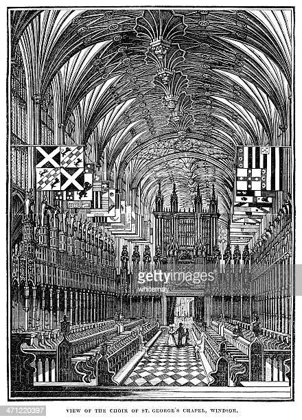 interior of st george's chapel, windsor - 1833 woodcut - chapel stock illustrations, clip art, cartoons, & icons