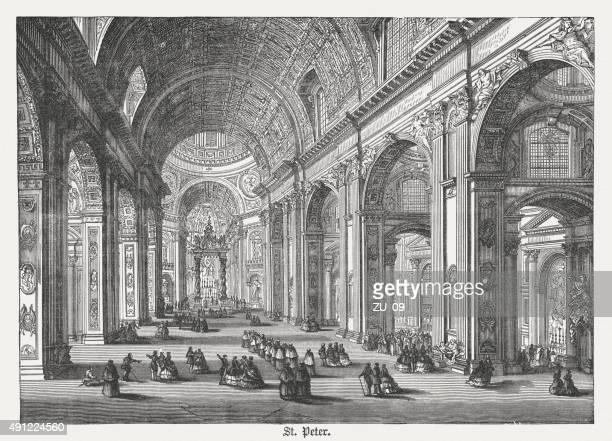 ilustrações de stock, clip art, desenhos animados e ícones de interior da basílica de são pedro, publicada em 1878 - st. peter's basilica the vatican