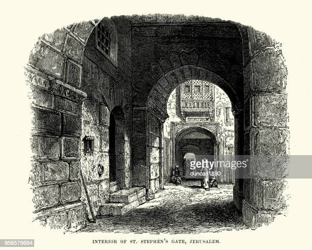 interior of st stephen's gate, jerusalem, 19th century - mycenae stock illustrations
