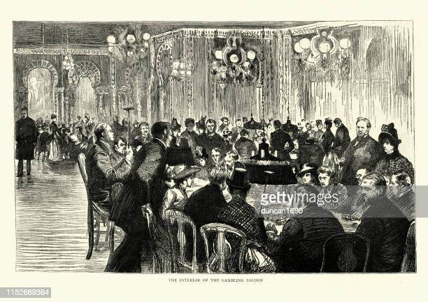 interior of the gambling saloon, monte carlo casino, 19th century - monte carlo stock illustrations, clip art, cartoons, & icons