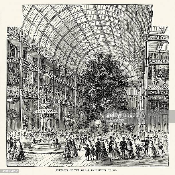 interior of the great exhibition of 1851 - great exhibition stock illustrations, clip art, cartoons, & icons