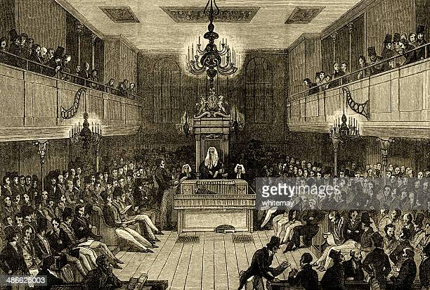 interior of the house of commons before 1834 - british culture stock illustrations