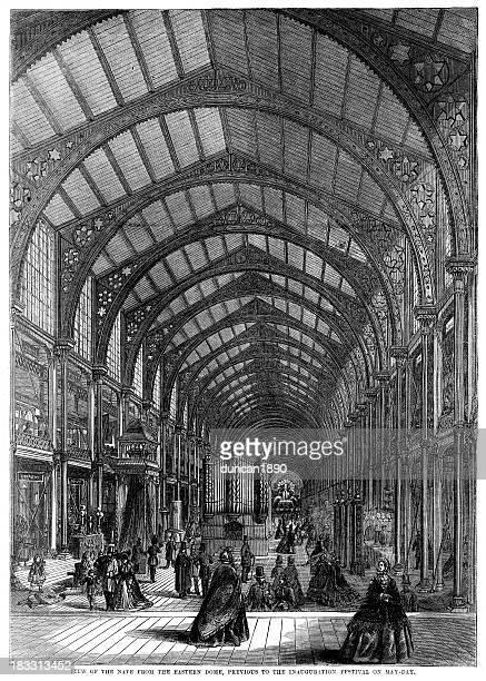 ilustraciones, imágenes clip art, dibujos animados e iconos de stock de interior del edificio de 1862 internacional de exposiciones - revolucion industrial