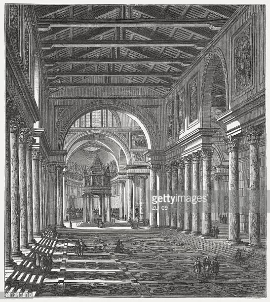 ilustrações de stock, clip art, desenhos animados e ícones de interior da antiga basílica de são pedro, publicada em 1878 - st. peter's basilica the vatican