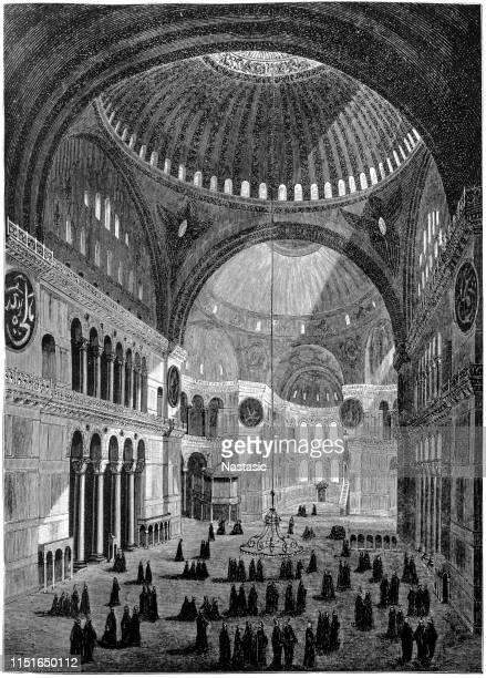 interior of the sophia church in constantinople - hagia sophia istanbul stock illustrations