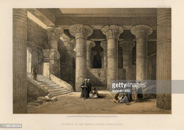 interior of the temple of esna, upper egypt - ancient egyptian culture stock illustrations