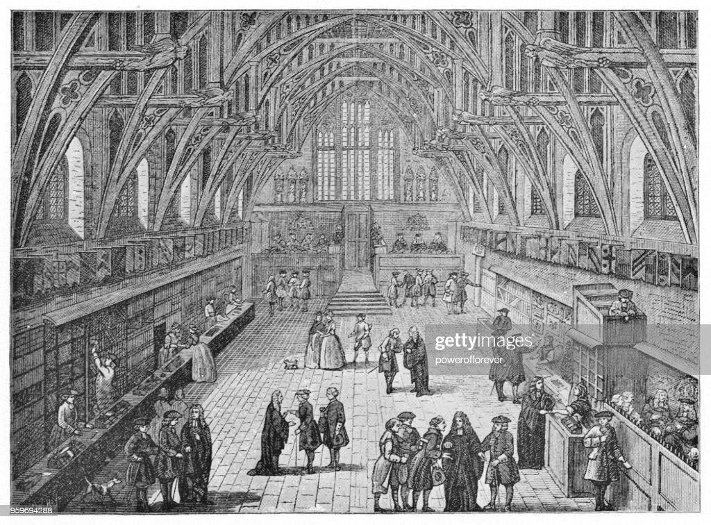 Innenraum der Westminster Hall in London, England - 19. Jh. : Stock-Illustration