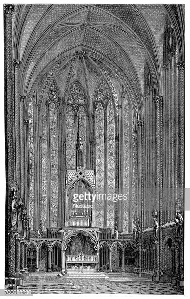 interior view of the sainte-chapelle in paris - chapel stock illustrations, clip art, cartoons, & icons
