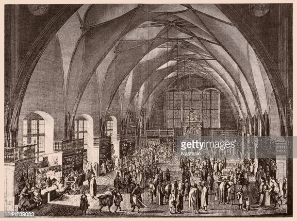interior view of vladislav hall at prague castle during the annual fair - prague stock illustrations, clip art, cartoons, & icons