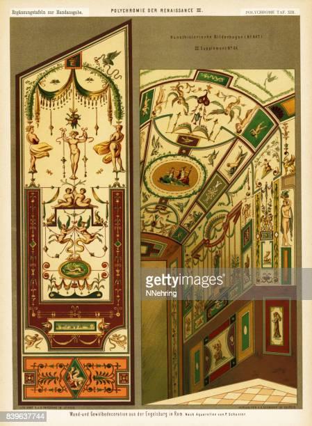 interior views of castel sant'angelo, rome, italy - castel sant'angelo stock illustrations