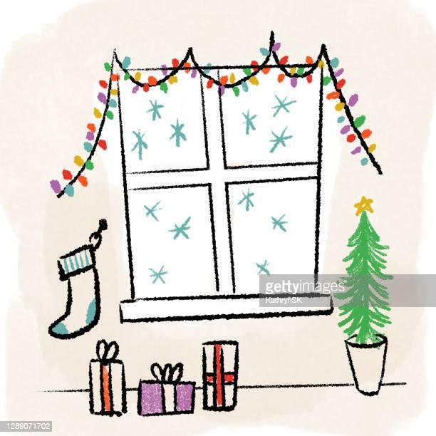 interior window christmas scene - kathrynsk stock illustrations