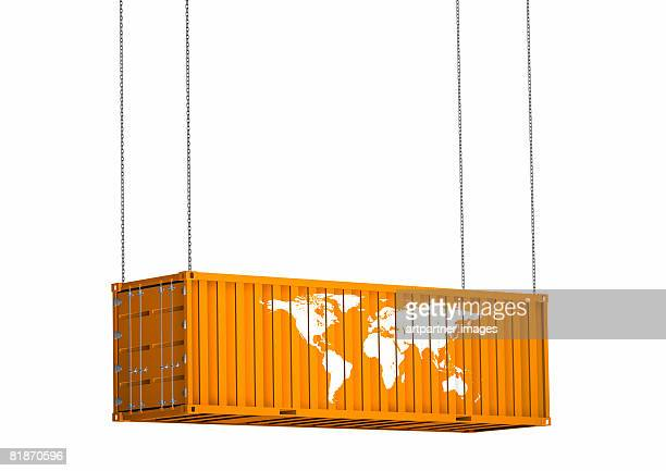 ilustraciones, imágenes clip art, dibujos animados e iconos de stock de international container for cargo with world map - flotando en el aire