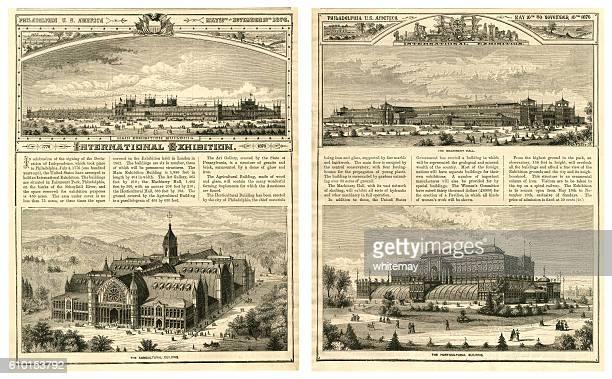 international exhibition in philadelphia, usa, in 1876 - 100th anniversary stock illustrations