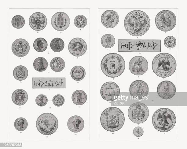international gold and silver coins, 19th century, woodcuts, published 1897 - iranian culture stock illustrations, clip art, cartoons, & icons