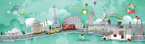 international landmark and people with suitcase - sydney opera house stock illustrations