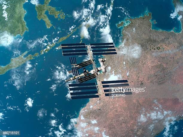 international space station, artwork - international space station stock illustrations