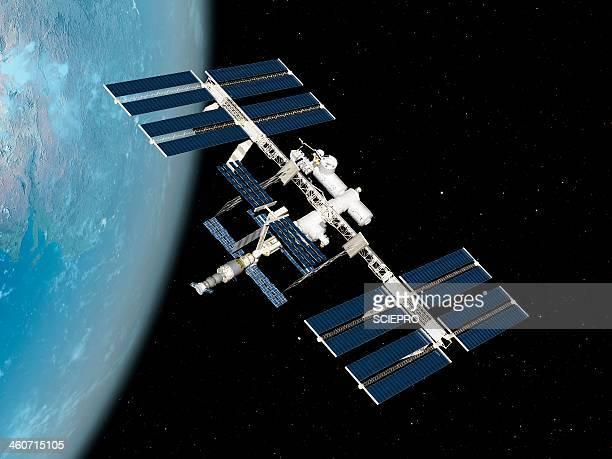 international space station, artwork - space station stock illustrations